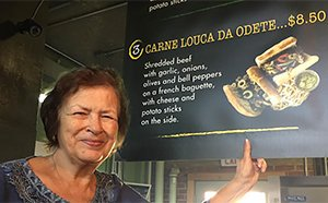 Marco's Mom showing her inspired Carne Da Odete at Taste of Brazil